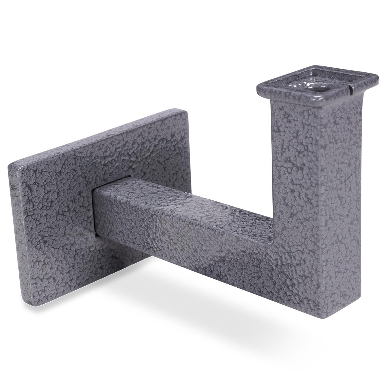 Handlauf Hammerschlag Optik beschichtet viereckig 40x40  Modell 11 - Eckige Treppengeländer - Treppenhandlauf mit grauem Hammerschlag Pulverbeschichtung