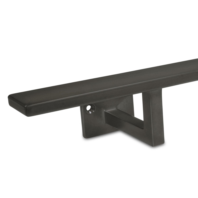 Handlauf Gunmetal Optik viereckig 40x10 Modell 10 - Rechteckige Treppenhandlauf mit Gun Metal Look Pulverbeschichtung