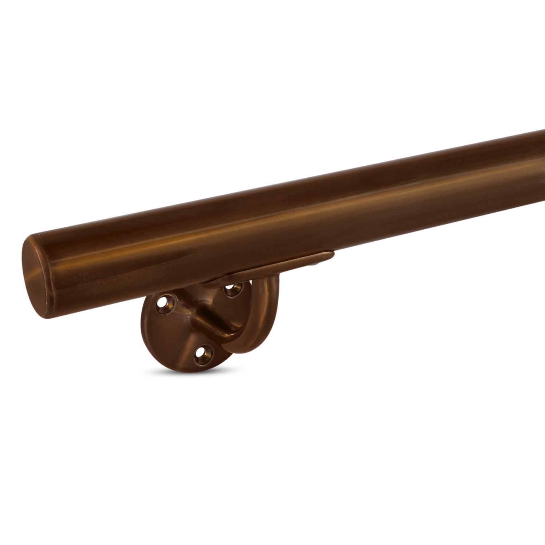 Handlauf Bronze Optik beschichtet rund schmal Modell 2 - Runde Treppengeländer - Treppenhandlauf mit Bronze - Gold - Messing Pulverbeschichtung