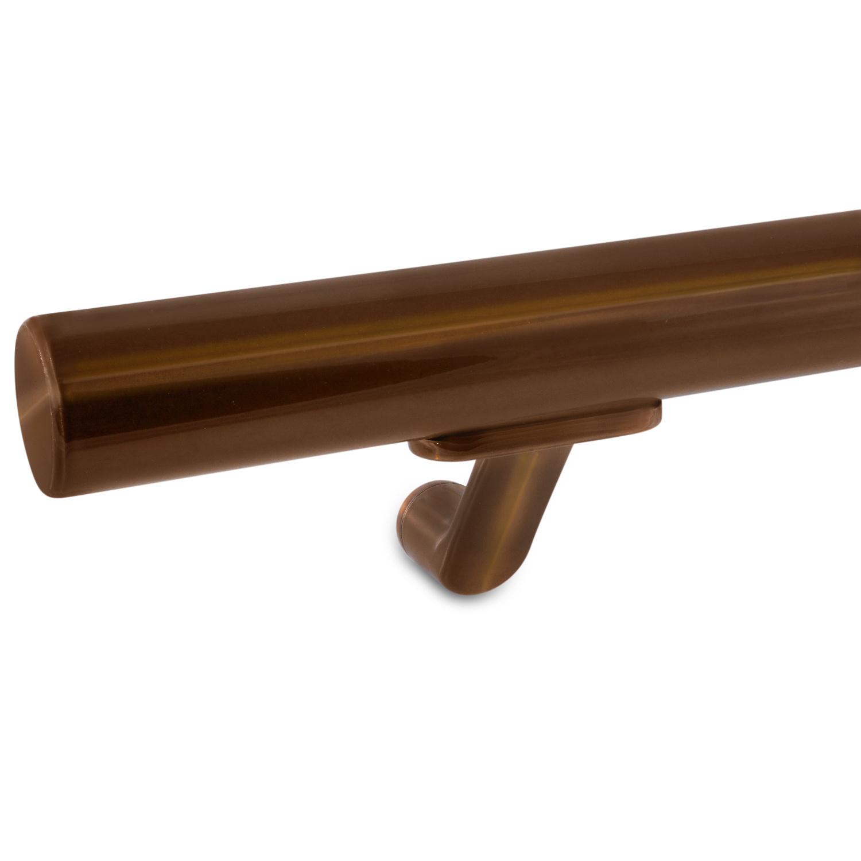 Handlauf Bronze Optik beschichtet rund Modell 7 - RundeTreppengeländer - Treppenhandlauf mit Bronze - Gold - Messing Pulverbeschichtung