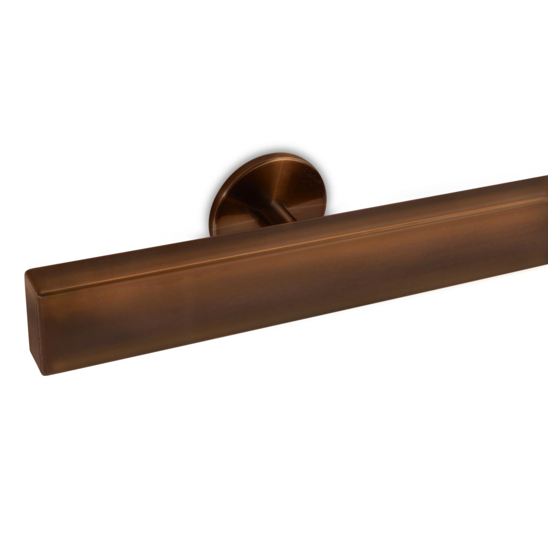 Handlauf Bronze Optik beschichtet viereckig 40x20 Modell 5 - Rechteckige Treppengeländer - Treppenhandlauf mit Bronze - Gold - Messing Pulverbeschichtung