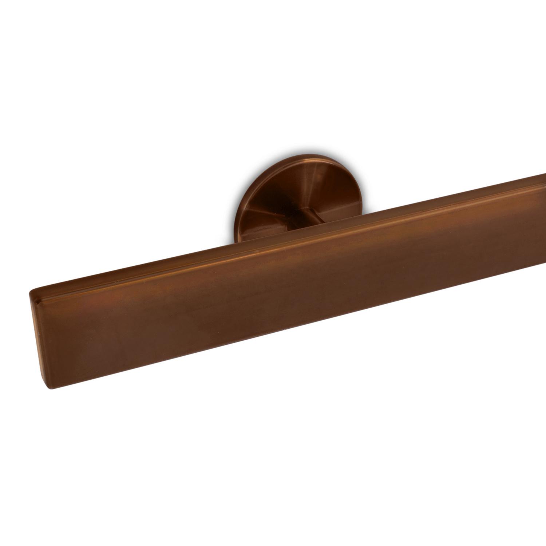 Handlauf Bronze Optik beschichtet viereckig 40x10 Modell 5 - Rechteckige Treppengeländer - Treppenhandlauf mit Bronze - Gold - Messing Pulverbeschichtung