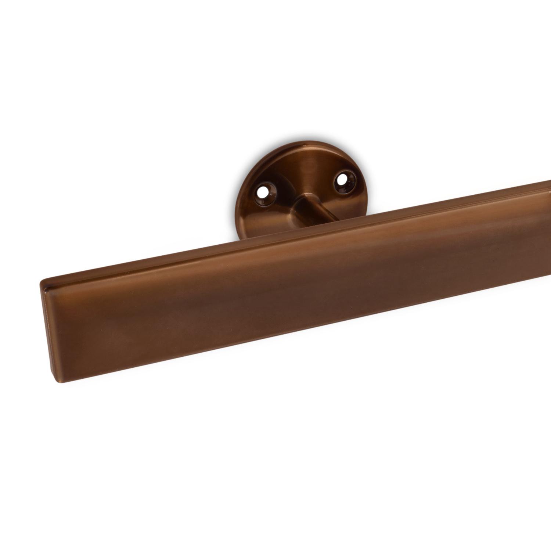 Handlauf Bronze Optik beschichtet viereckig 40x10 Modell 4 - Rechteckige Treppengeländer - Treppenhandlauf mit Bronze - Gold - Messing Pulverbeschichtung
