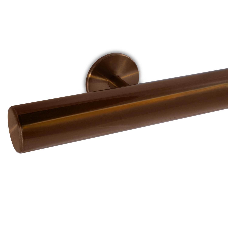 Handlauf Bronze Optik beschichtet rund Modell 5 - Runde Treppengeländer - Treppenhandlauf mit Bronze - Gold - Messing Pulverbeschichtung