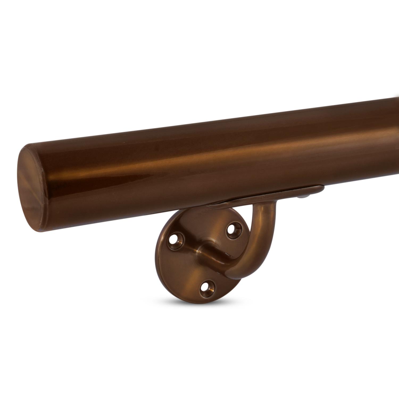 Handlauf Bronze Optik beschichtet rund Modell 2 - Runde Treppengeländer - Treppenhandlauf mit Bronze - Gold - Messing Pulverbeschichtung