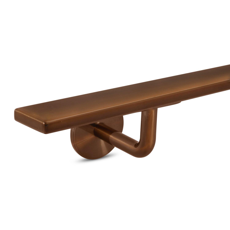 Handlauf Bronze Optik beschichtet viereckig 40x10 Modell 3 - Rechteckige Treppengeländer - Treppenhandlauf mit Bronze - Gold - Messing Pulverbeschichtung