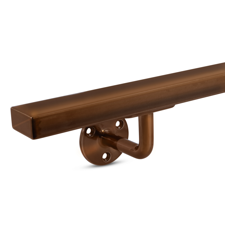 Handlauf Bronze Optik viereckig 40x20 Modell 1 - Rechteckige Treppengeländer - Treppenhandlauf mit Bronze - Gold - Messing Pulverbeschichtung