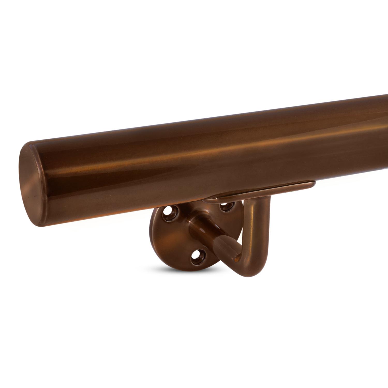 Handlauf Bronze Optik beschichtet rund Modell 1 - Rundes Treppengeländer - Treppenhandlauf mit Bronze - Gold - Messing Pulverbeschichtung