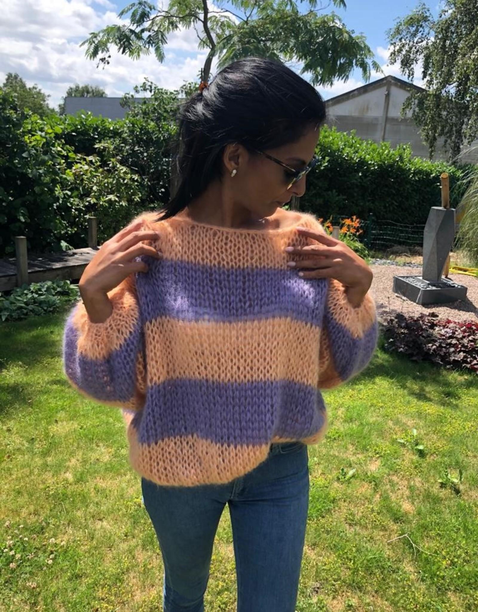 Angels-Knit by FDF 100% handmade Pull Stripe Mohair / Silk
