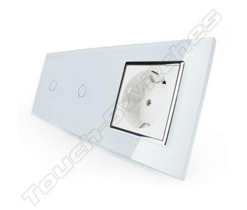 Livolo Touch Schakelaar   2 x Enkelpolig + EU Wandcontactdoos