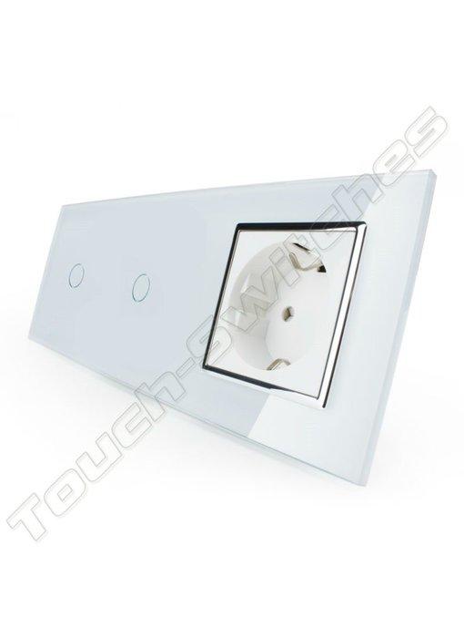 Livolo Touch-Schalter | 2 x 1-Polig + EU Steckdose