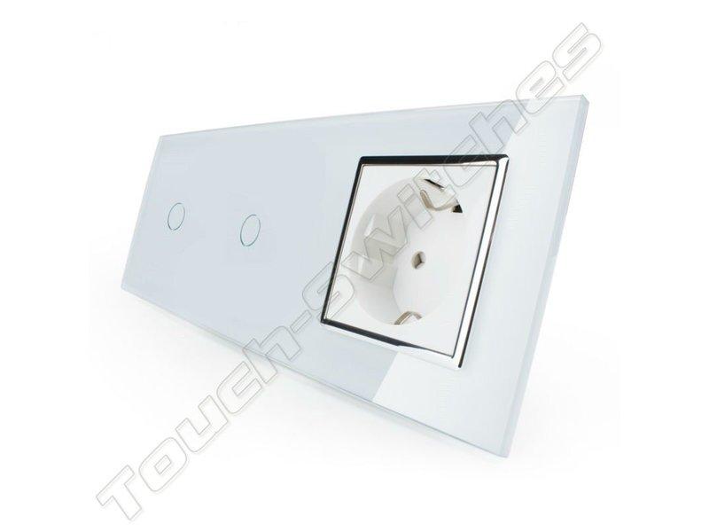 Design Touch Schakelaar | 2 x Enkelpolig + EU Wandcontactdoos | 3 Raams