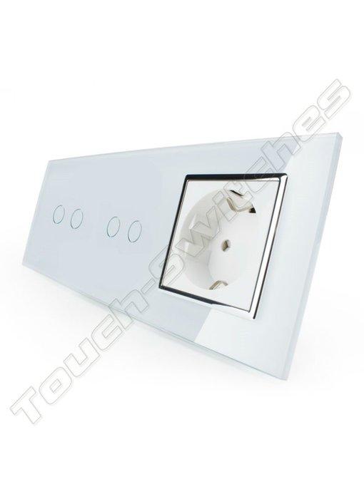 Livolo Touch Switch | 2 x 2-Gang + EU Socket
