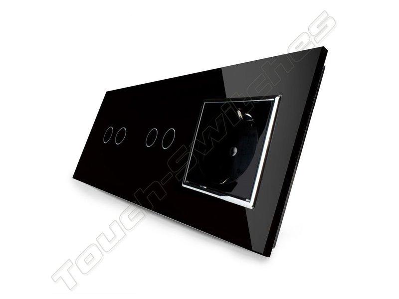 Design Touch-Schalter   2 x 2-Polig + EU Steckdose   3 Fach
