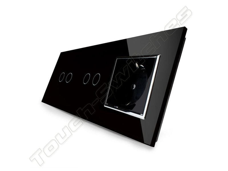 Livolo Design Touch Schakelaar   2 x Serie + EU Wandcontactdoos   3 Raams