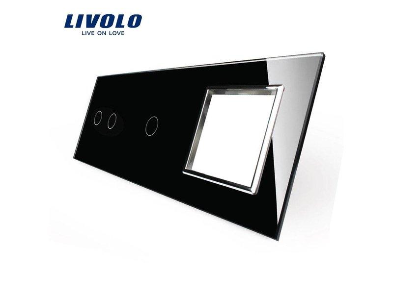 Livolo Design | Glasplatte | 2-Polig + 1-Polig + Modul/Steckdose | 3 Fach