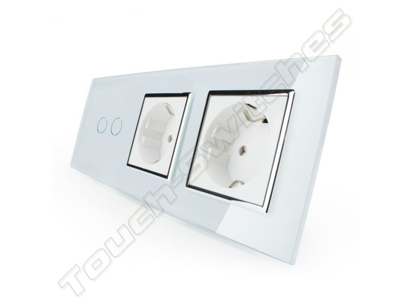 Design Touch Switch | 2-Gang + 2 x EU Socket | 3 Hole