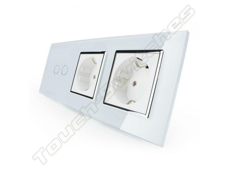 Livolo Design Touch Schakelaar | Serie + 2 x EU Wandcontactdoos | 3 Raams