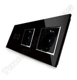 Design Touch-Schalter | 2-Polig + 2 x EU Steckdose | 3 Fach