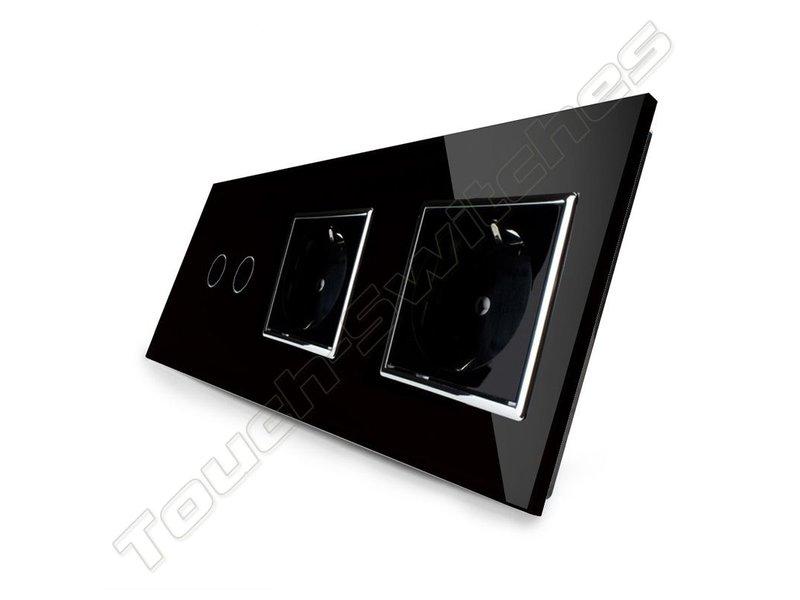 Design Touch Schakelaar | Serie + 2 x EU Wandcontactdoos | 3 Raams