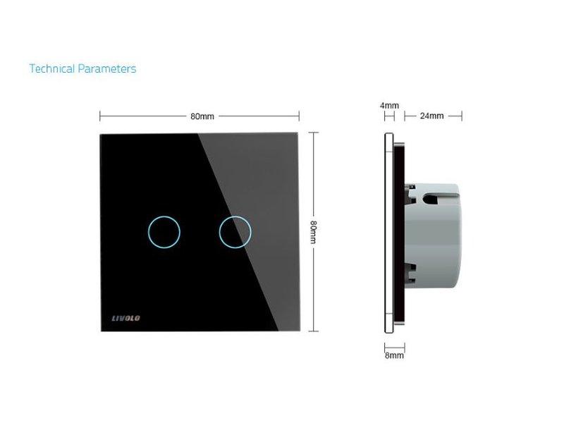 Design Touch Schakelaar   Serie + Wissel   2-polig   1 Raam