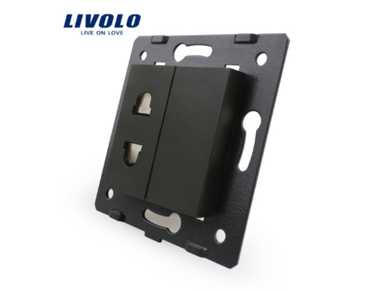 Livolo Design Wandcontactdoos module | 1 X enkelvoudig | Ongeaard | 1 Raam