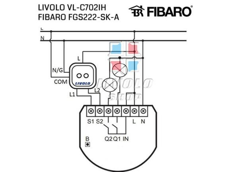 Design Touch Switch | 2Gang 1Way | Suitable for Fibaro | 1 Hole