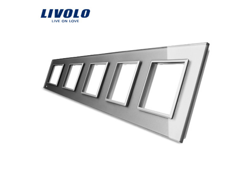 Design Glaspaneel | 5 x Module/Wandcontactdoos | 5 Raams