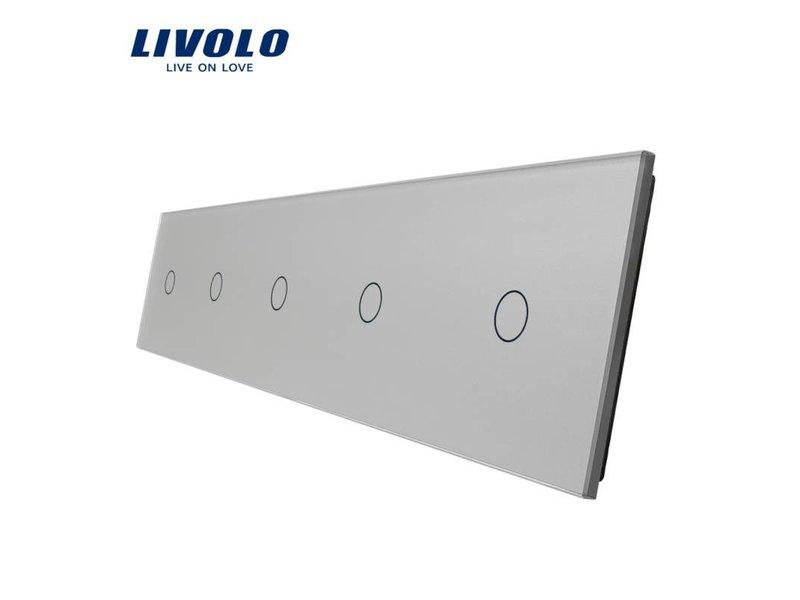 Livolo Design Glaspaneel | 5 x Enkelpolig | 5 Raams