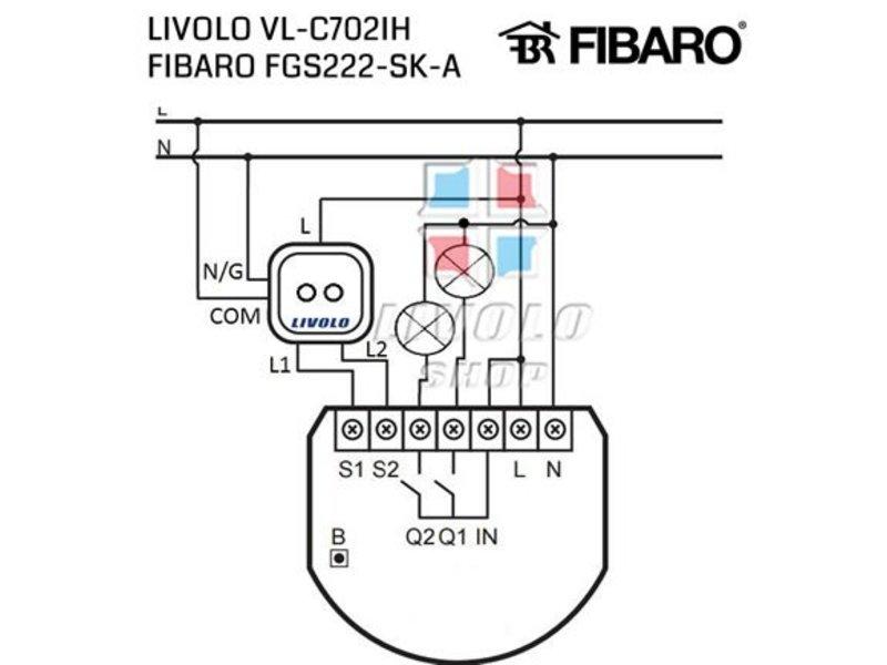 Livolo Touch Schalter | Serie | Geeignet für Fibaro | 2-polig | 1 Fenster