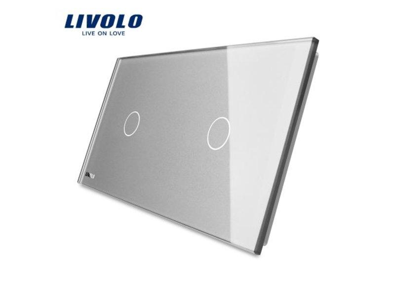 Design Glasplatte | 1-Polig + 1-Polig | 2 Fach