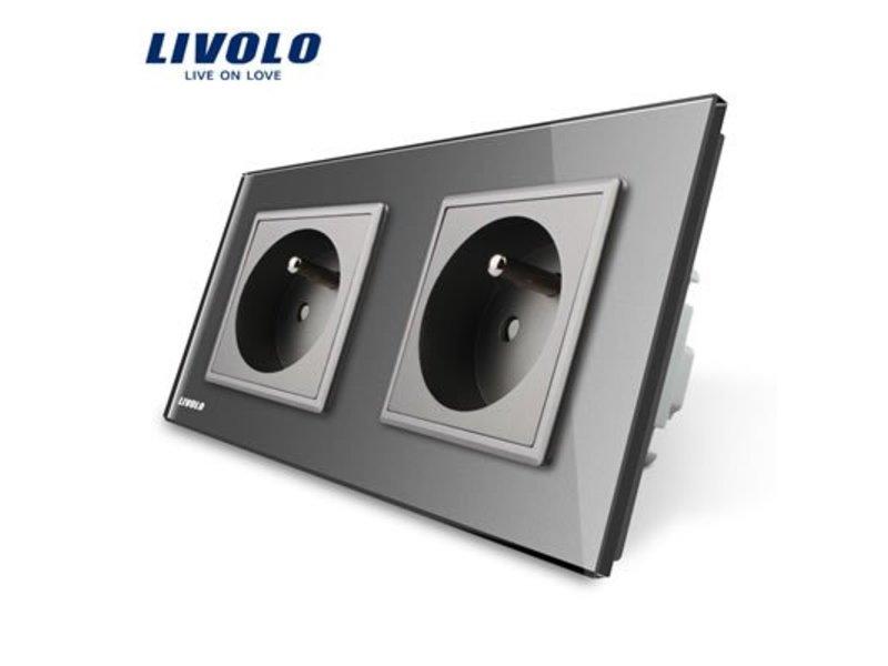 Livolo Design Wandcontactdoos | Tweevoudig | 2 Raams | FR
