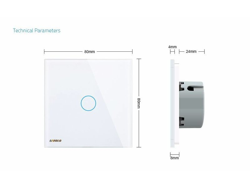 Design Touch Switch | 1 Gang 2 Way | 1 Hole  | Zigbee | Smart Home