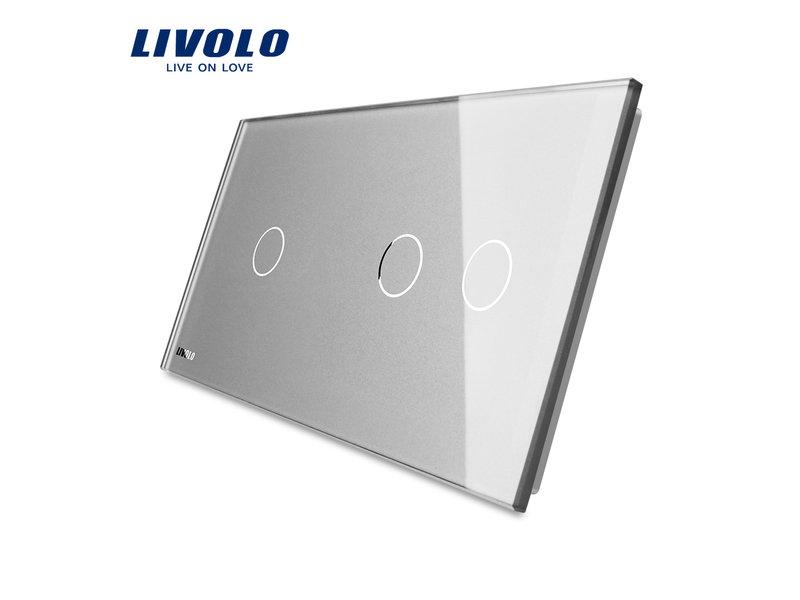 Livolo Design Glaspaneel | Enkelpolig + Serie | 2 Raams