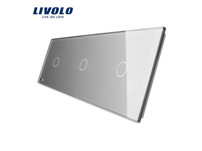 Design Glasplatte | 3 x 1-Polig | 3 Fach