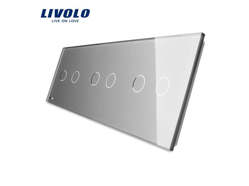 Livolo Design Glass Panel | 3 x 2-Gang | 3 Hole