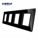Design Glaspaneel | 4 x Module/Wandcontactdoos | 4 Raams