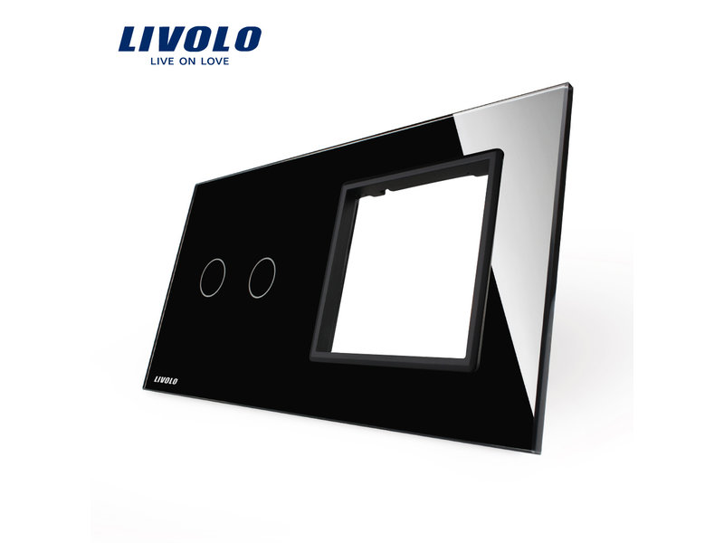 Design Glass Panel | 2-Gang + Module/Socket | 2 Hole