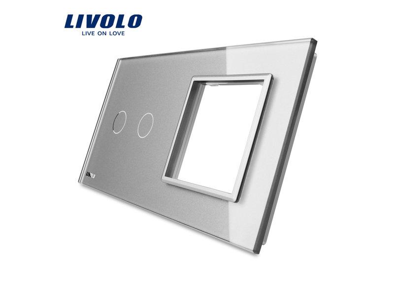 Design Glasplatte | 2-Polig + Modul/Steckdose | 2 Fach