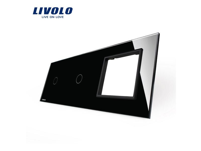 Livolo Design Glaspaneel | 2 x Enkelpolig + Module/Wandcontactdoos | 3 Raams