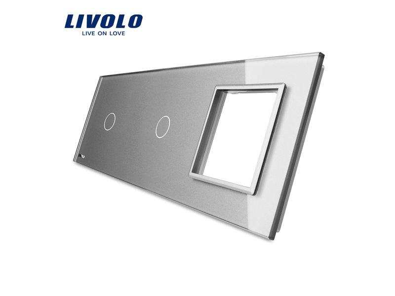 Design Glasplatte | 2 x 1-Polig + Modul/Steckdose | 3 Fach