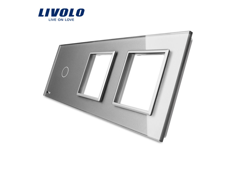 Design Glaspaneel   Enkelpolig + 2 x Module/Wandcontactdoos   3 Raams