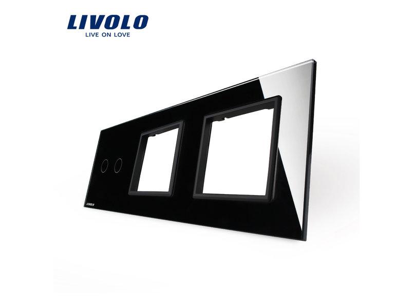 Design Glasplatte | 2-Polig + 2 x Modul/Steckdose | 3 Fach