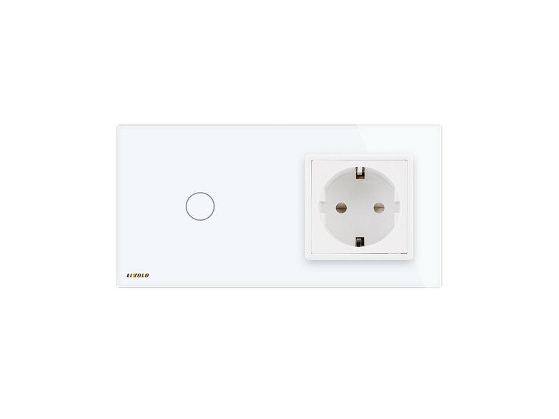 Design Touch Switch | 1-Gang + EU Socket | 2 Hole