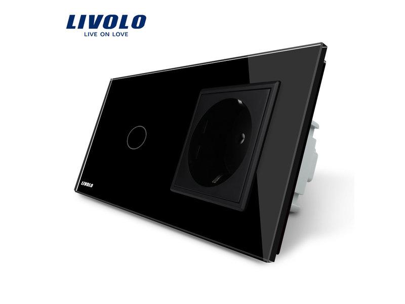 Livolo Design Touch-Schalter | 1-Polig + EU Steckdose | 2 Fach