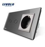 Livolo Design Touch Switch | 2-Gang + EU Socket | 2 Hole