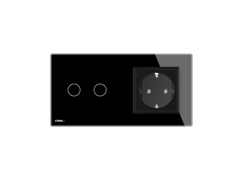 Design Touch Schakelaar | Serie + EU Wandcontactdoos | 2 Raams