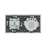 Design Touch-Schalter   2-Polig + EU Steckdose   2 Fach