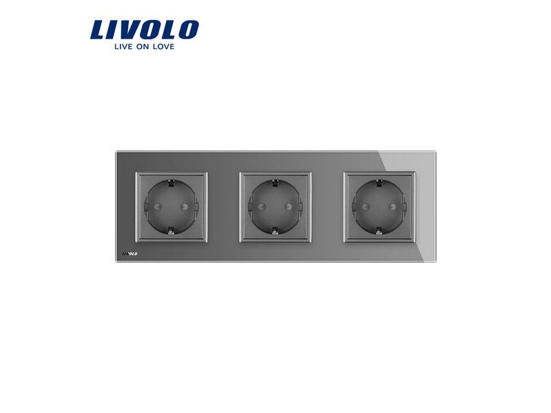 Livolo Design Wandcontactdoos | Drievoudig | 3 Raams | EU
