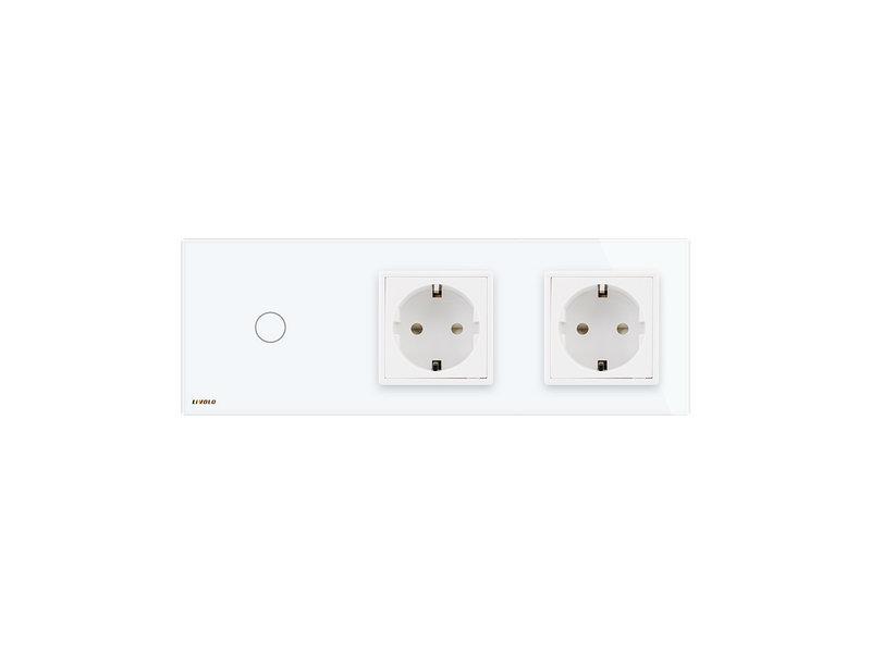 Design Touch-Schalter | 1-Polig + 2 x EU Steckdose | 3 Fach